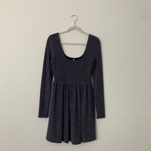 Free People Dresses - Free People Navy Shimmer Chevron Mini Dress